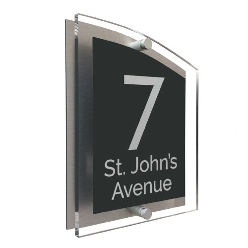 Arc Shape - Clear Acrylic House Sign - Anthracite Colour with White text in Font  4